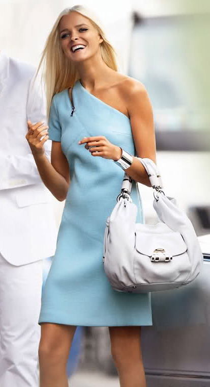 816d1d6889282 Carmen Kass in Michael Kors Spring/Summer 2010 ad campaign, photographed by  Mario Testino: blue dress, white ...