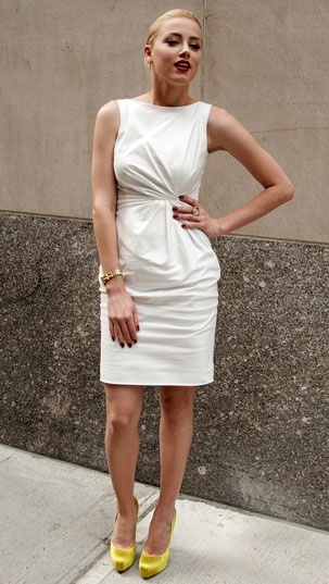 ea117f8a102 Amber Heard in Syrup movie  white dress